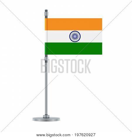 Indian Flag On The Metallic Pole, Vector Illustrat