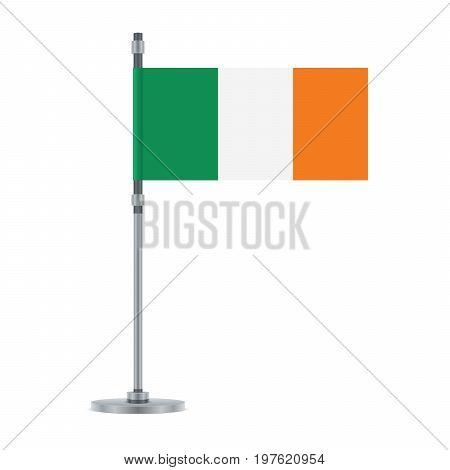 Irish Flag On The Metallic Pole, Vector Illustration