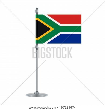 South African Flag On The Metallic Pole, Vector Illustration