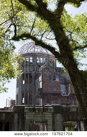 Hiroshima Peace Memorial or Atomic Bomb Dome that was bombed in World War II.
