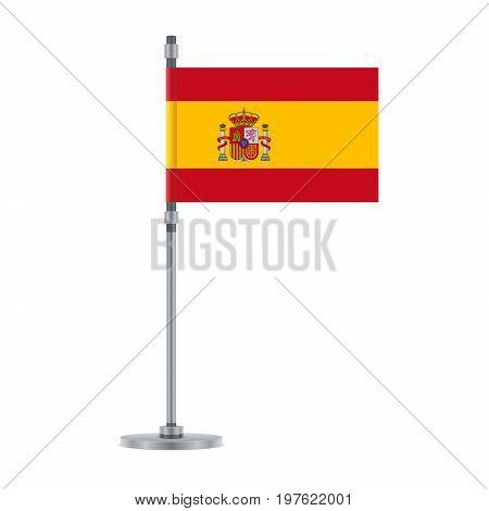 Spanish Flag On The Metallic Pole, Vector Illustration