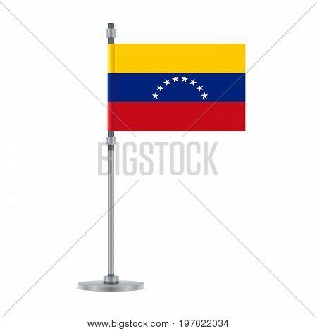 Venezuelan Flag On The Metallic Pole, Vector Illustration