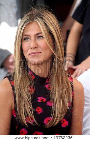 LOS ANGELES - July 26:  Jennifer Aniston at the Jason Bateman Hollywood Walk of Fame Star Ceremony at the Walk of Fame on July 26, 2017 in Hollywood, CA