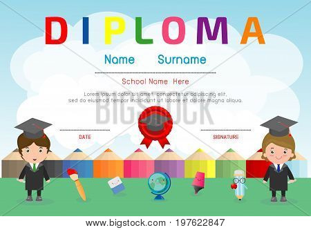 Certificate kids diploma, kindergarten template layout space background frame design vector. Diploma template for kindergarten students, Certificate of child diploma, education preschool concept.
