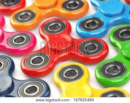 Group of fidget finger spinner stress, anxiety relief toy. 3d illustration