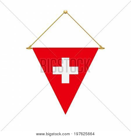 Swiss Triangle Flag Hanging, Vector Illustration