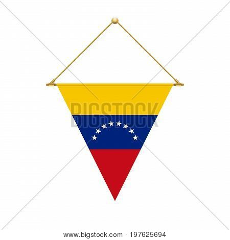 Venezuelan Triangle Flag Hanging, Vector Illustration