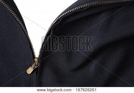 Open Zipper Black Jacket Isolated