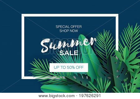Trendy Summer Sale Template banner. Paper cut art Tropical palm leaves, plants. Exotic. Hawaiian. Text. Rectangle frame. Dark green jungle floral background. Monstera, palm. Vector illustration