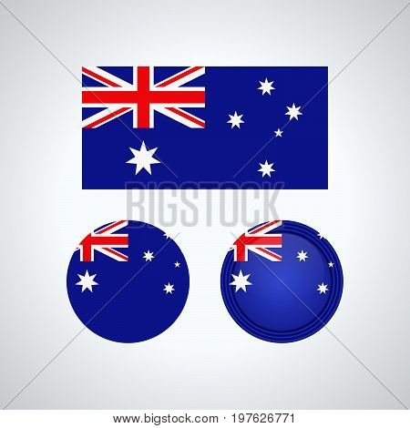 Australian Trio Flags, Vector Illustration