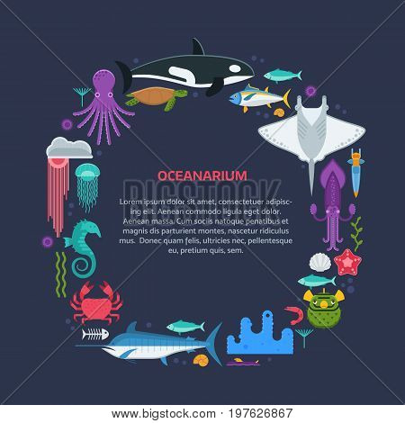 Oceanographic text frame with sea animals and fishes stylized in circle. Ocean and marine creatures and other aquatic life background with space for text. Oceanarium card template.