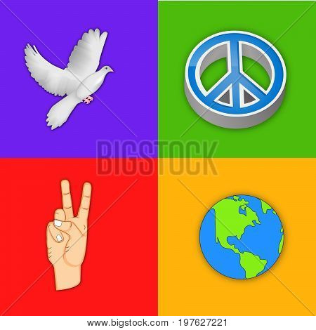 illustration of Peace Symbol, Pigeon, fingers, earth on the occasion of International Peace Day