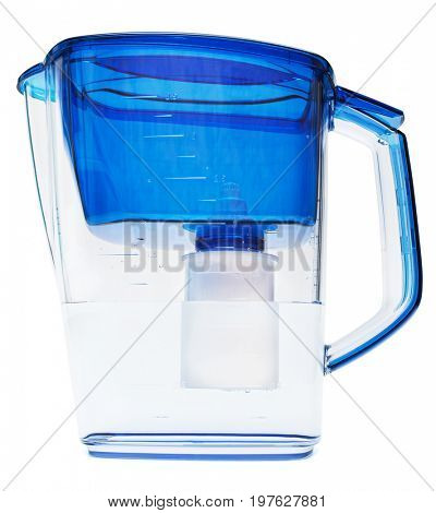 modern water filter on white background