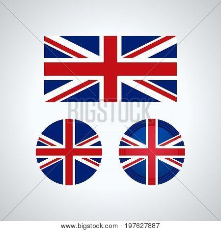 English Trio Flags, Vector Illustration