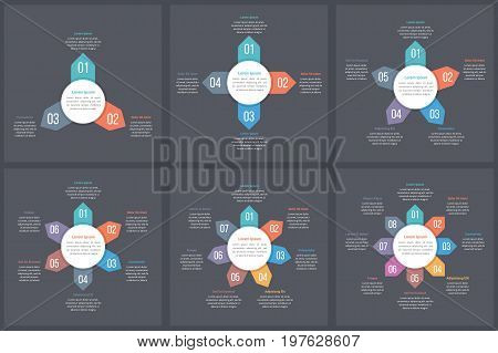Circle infographic templates with 3, 4, 5, 6, 7 and 8 elements steps or options, workflow or process diagram, data vizualization, vector eps10 illustration