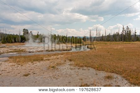 Iron Spring Creek flowing past Cliff Geyser in Black Sand Geyser Basin in Yellowstone National Park in Wyoming USA
