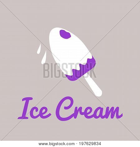 Vector logo template for stall with ice cream. Illustration of an Eskimo on stick. Design element. Creative logotype. EPS10.