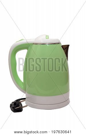 Green Electric kettle isolated on white background
