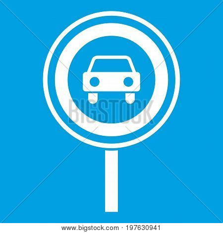 Prohibiting traffic sign icon white isolated on blue background vector illustration