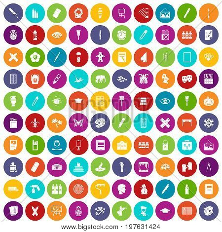 100 paint school icons set in different colors circle isolated vector illustration