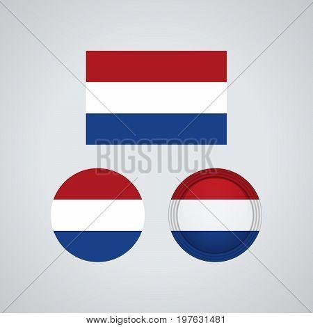 Dutch Trio Flags, Vector Illustration