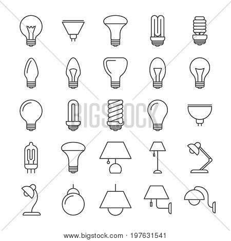 Lamp and light bulbs line icons collection. Light lamp variation, table and wall illustration vector