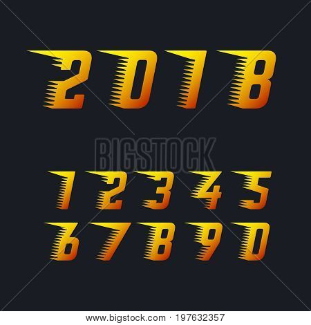 Sports racing numbers with rapid motion effect of speed lines set of vector symbols. Happy new year 2018 fiery symbol. Number for racing with rapid effect speed line illustration