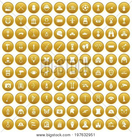 100 museum icons set in gold circle isolated on white vectr illustration