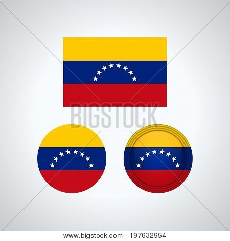 Venezuelan Trio Flags, Vector Illustration
