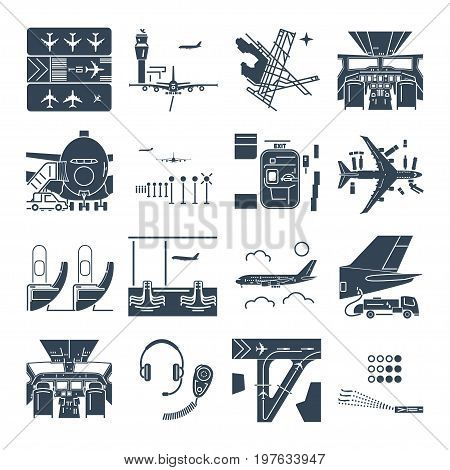set of black icons airport and airplane terminal runway cockpit