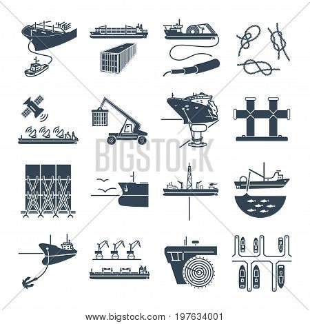 set of black icons water transport and sea port container ship tug