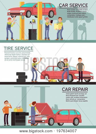 Car services and auto garag vector marketing banners with cartoon mechanic worker. Car service and tire service, repair transport maintenance illustration