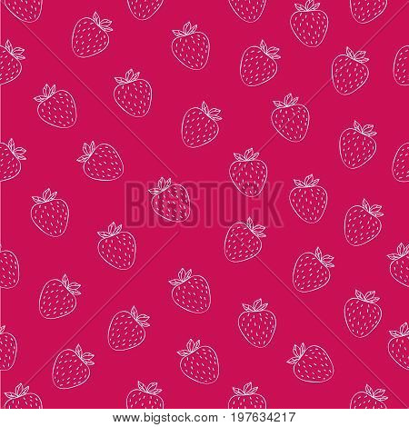 Juicy seamless pattern with white strawberries on fuchsia background. Can be used in your project or printing.