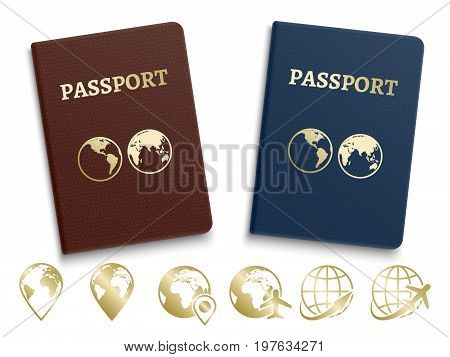 Passports international ID and golden navigation and travel icons. Document legal official, vector national passport illustration