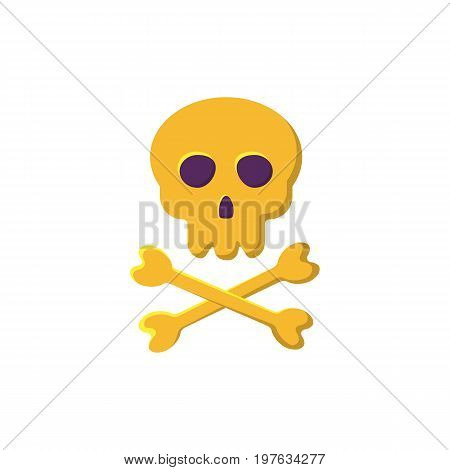 Skull and bones icon. Crossbones and death skull, danger or poison flat image. Design element for Halloween. Vector illustration in flat style for your design.