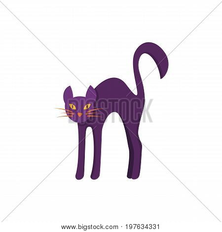 Cat icon isolated on white background. Frightened cat arch back. Angry  cat. Design element for Halloween. Vector illustration in flat style for your design.