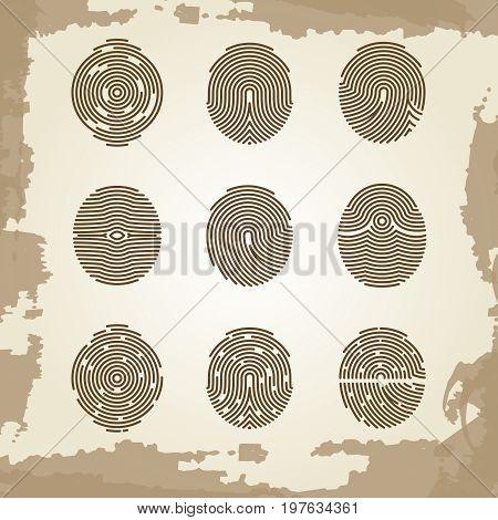 Fingerprint collection on grunge vintage backdrop. Security finger thumbprint, vector illustration