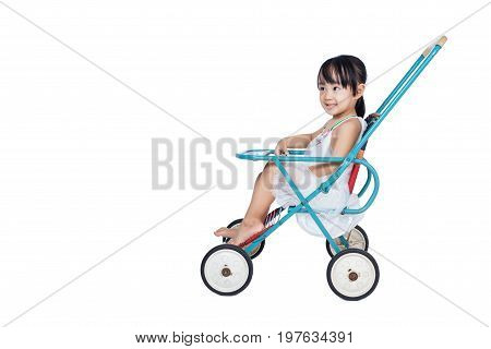 Asian Chinese Little Girl Sitting In A Retro Stroller