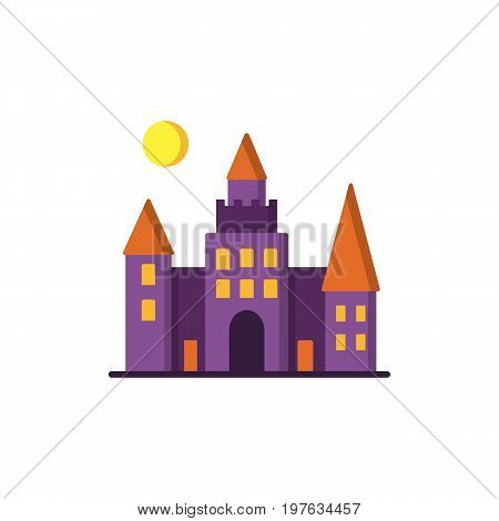 Dracula s Castle icon. Isolated on white background. Halloween castle with orange windows and moon over it. Design element for Halloween. Vector illustration in flat style for your design.
