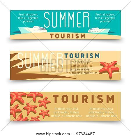 Summer tourism banner template with yacht and starfish. Tourism and travel, yacht and starfish on horizontal banner. Vector illustration