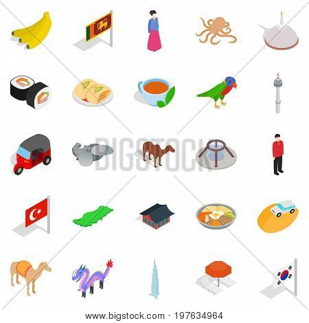 Relax in asia icons set. Isometric set of 25 relax in asia vector icons for web isolated on white background