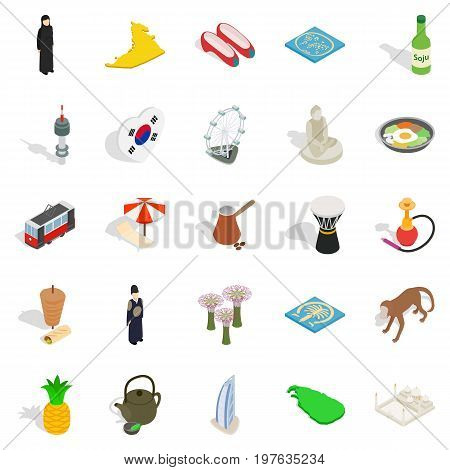 Spirit of Korea icons set. Isometric set of 25 spirit of korea vector icons for web isolated on white background