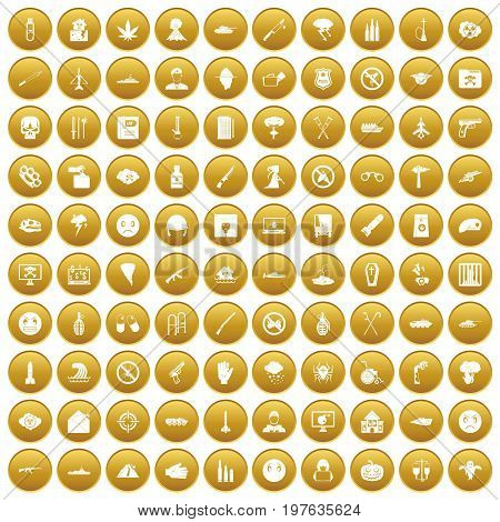 100 oppression icons set in gold circle isolated on white vectr illustration