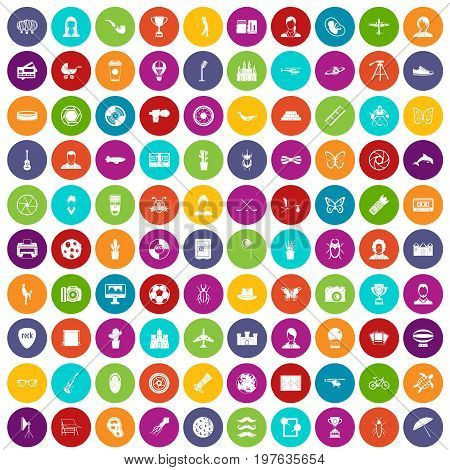 100 photo icons set in different colors circle isolated vector illustration