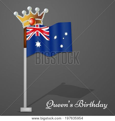 illustration of Australia Flag in crown with Queen's Birthday text on the occasion of Queen's Birthday