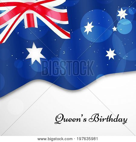 illustration of Australia Flag background with Queen's Birthday text on the occasion of Queen's Birthday