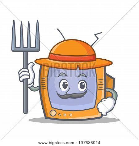 Farmer TV character cartoon object vector illustration
