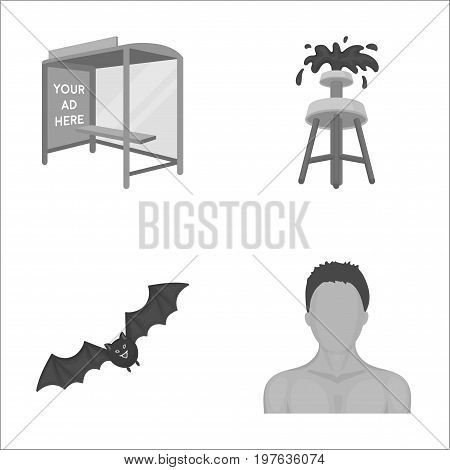 business, fauna, ecology and other  icon in monochrome style.naked, hair, shoulders, icons in set collection