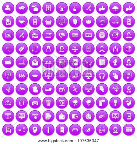100 contact us icons set in purple circle isolated on white vector illustration