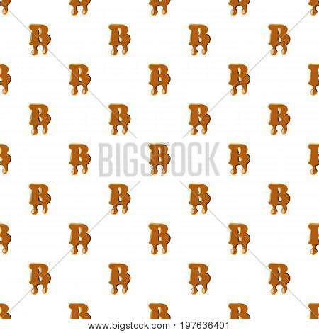 Letter B from caramel pattern seamless repeat in cartoon style vector illustration